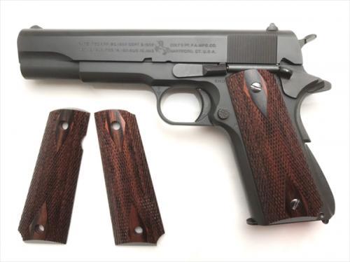 Wood Grip Government / 45 AUTO <Diamond Checker / Brown>