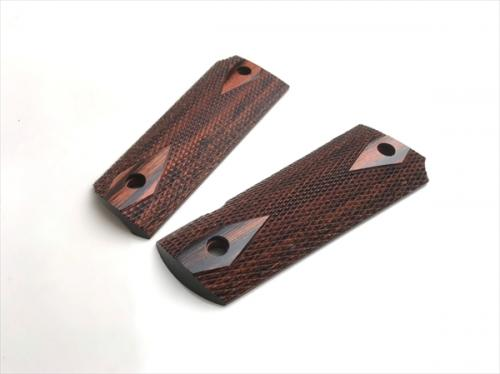 Wood Grip Government / 45 AUTO <Diamond Checker / Brown>