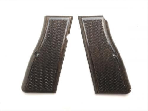 Wood grip browning high power <checker / dark brown>
