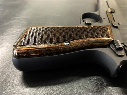 Wood grip browning high power <checker / dark brown>