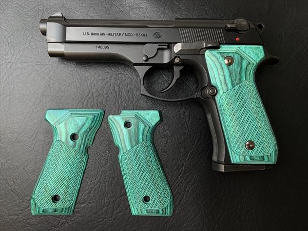 ウッドグリップ U.S.M9 / M9A1 (チェッカー/グリーン)